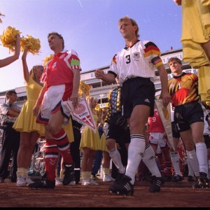 Jun 1992:  The players from Denmark and Germany walk out on to the picth before the start of the 1992 European nations soccer championship final in Gothenburg, Sweden.  Denmark became champions for the first time by defeating Germany by 2-0.   MandatoryCredit: Allsport UK