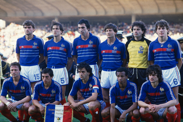 23 Jun 1984, Marseille, France --- The French National team before the semi-final of the UEFA Euro 1984 against Portugal. (L-R, front row): Bernard Lacombe, Alain Giresse, Michel Platini, Jean Tigana and Didier Six. (L-R, Back row): Yvon Le Roux, Patrick Battiston, Maxime Bossis, Jean-Francois Domergue, Joel Bats and Luis Fernandez. --- Image by © Jean-Yves Ruszniewski/TempSport/Corbis