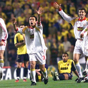 Players of Galatasaray Istanbul celebrate after winning in a penalty shoot out the UEFA cup soccer final match vs Arsenal London in the Parken stadium in Copenhagen on Wednesday, May 17, 2000. (AP Photo/Murad Sezer)