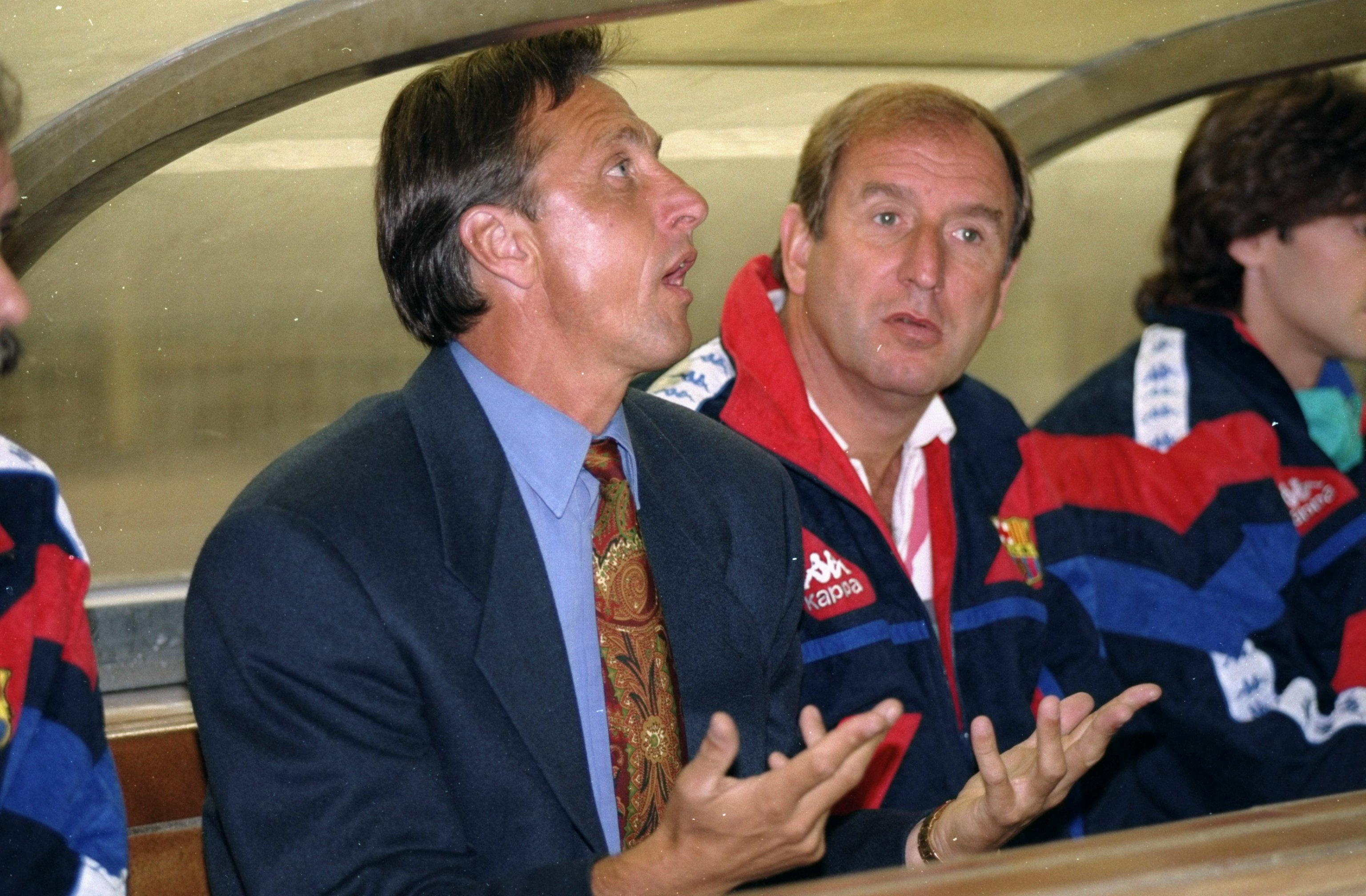 1996: Portrait of Barcelona Manager Johan Cruyff in the dug out during a match. Mandatory Credit: Clive Brunskill/Allsport